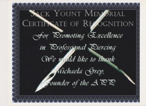 Jack Yount Memorial Certificate of Recognition